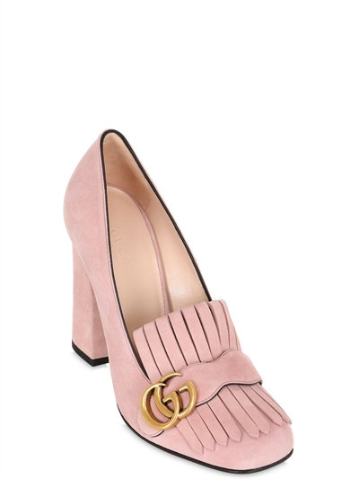 LUISAVIAROMA.COM - GUCCI - 105MM MARMONT FRINGED SUEDE PUMPS