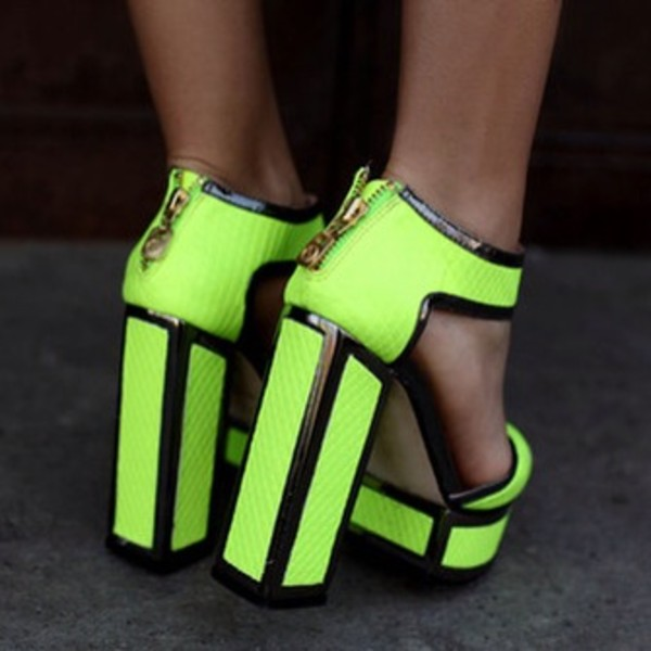 shoes fluro lime yellow fluro high heels fashion chuncky bright green chunky heels