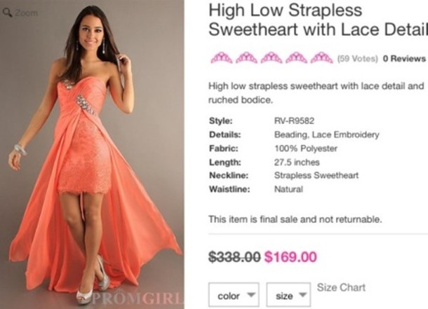 dress, high low, promgirl, prom dress, coral, prom dress - Wheretoget