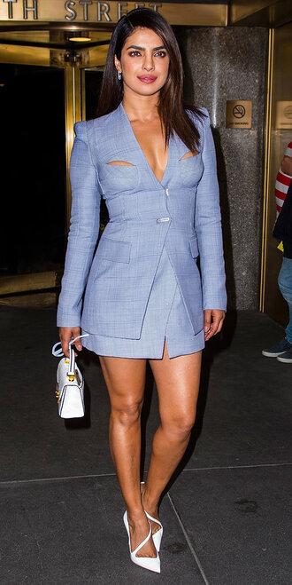shoes pumps blazer skirt blue priyanka chopra mini skirt