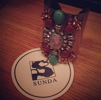 jewels bracelets bush gold red blue pink sunda iron metal jewelry