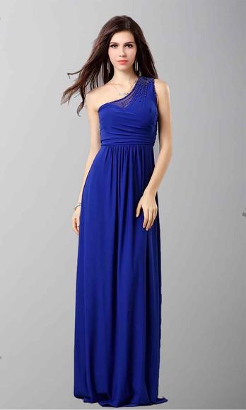 evening dress long prom dresses long formal dress blue dress one shoulder dresses beading prom dress