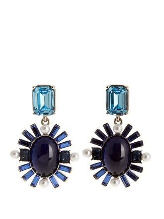 embellished earrings blue jewels