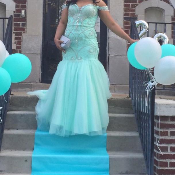 4c5a656a192e dress aqua aqua dress off the shoulder dress blue dress blue tiffany blue  prom dress prom