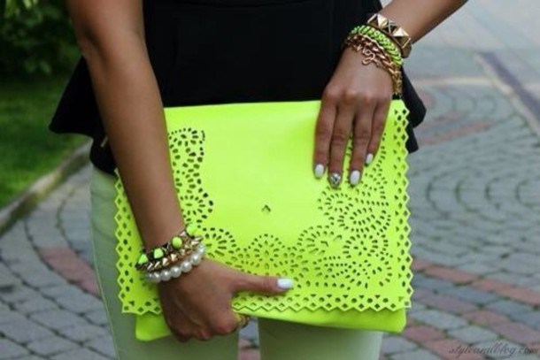 bag yellow clutch