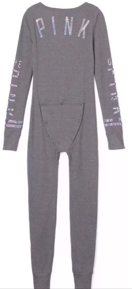 56868380ceb Victoria s Secret PINK Gray BLING Thermal Long Jane Onesie ...