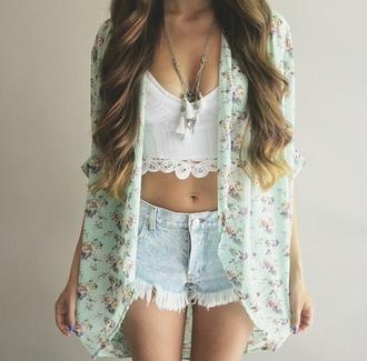 top sheer shorts demin shorts demin necklace girly tassel crochet