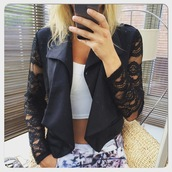 jacket,ikandi boutique,blazer,lace,crochet,mesh,crochet sleeves,lace sleeves,black,black jacket,open front,waterfall,cardigan,waterfall jacket,waterfall blazer,suit jacket,formal,work jacket,evening outfits,top,tailored blazer,tailored jacket,fashion,trendy,cute,party,party blazer