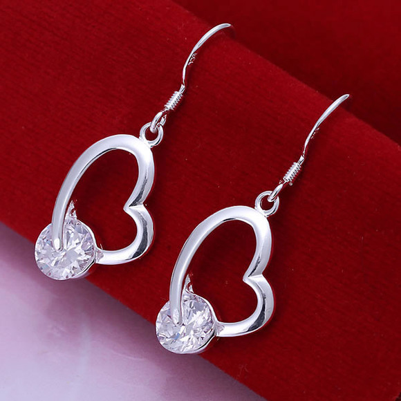 jewels earrings crystal heart shape ear drop banggood 925 silver