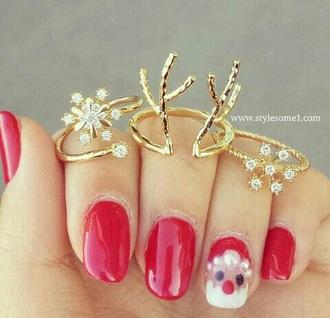 nail accessories gold christmas nail polish rings holiday season