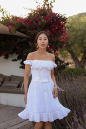 dress,midi dress,white dress,earrings,bracelets