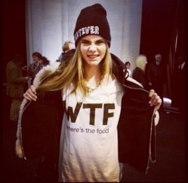 shirt wtf cara delevingne t-shirt food hat