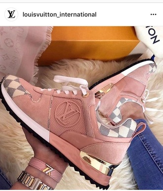 shoes louis vuitton pink suede  sneakers