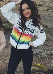 coat,polaroid camera,polaroid jacket,vintage,white,rainbow