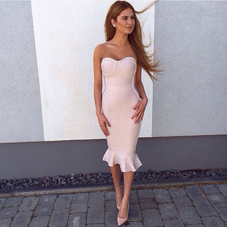 dress classy cocktail dress nude dress all nude everything strapless dress midi bodycon dress