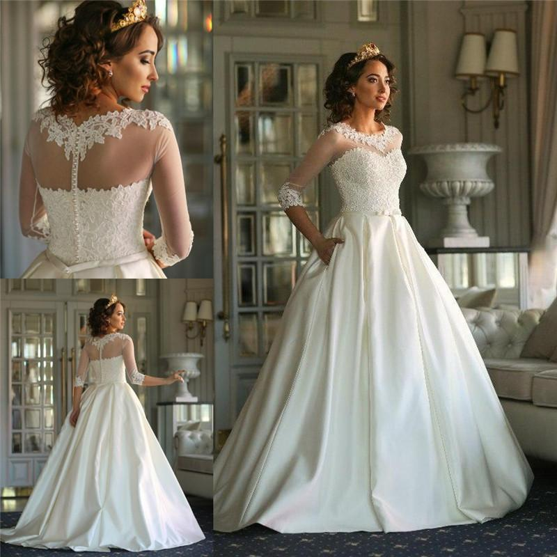 Exquisite 3 4 long sleeves lace wedding dresses with for Long sleeve plus size wedding dress