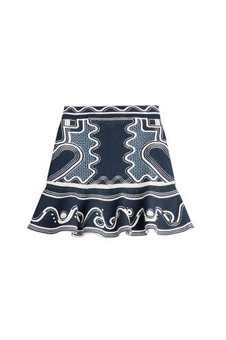 skirt embroidered blue