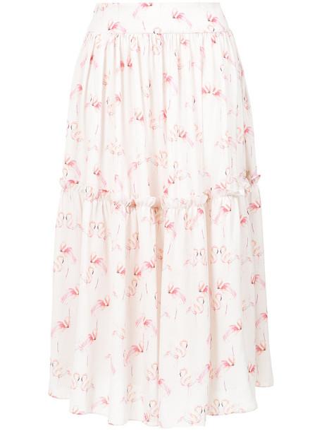 Olympiah skirt midi skirt women flamingo midi white print