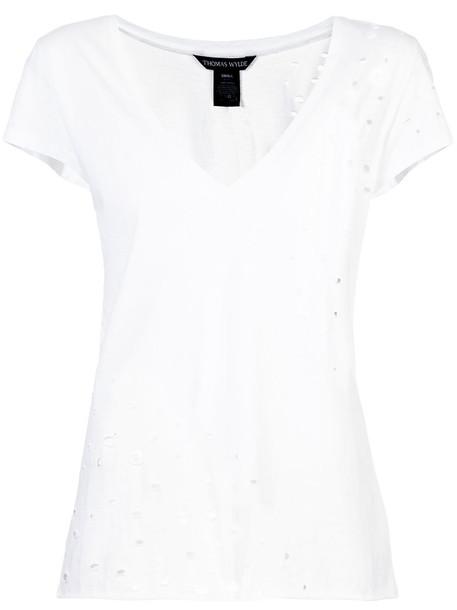 Thomas Wylde - cut-out detailed T-shirt - women - Cotton - L, White, Cotton