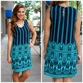 shift shift dress jewels navy fall dress summer style turquoise unique print