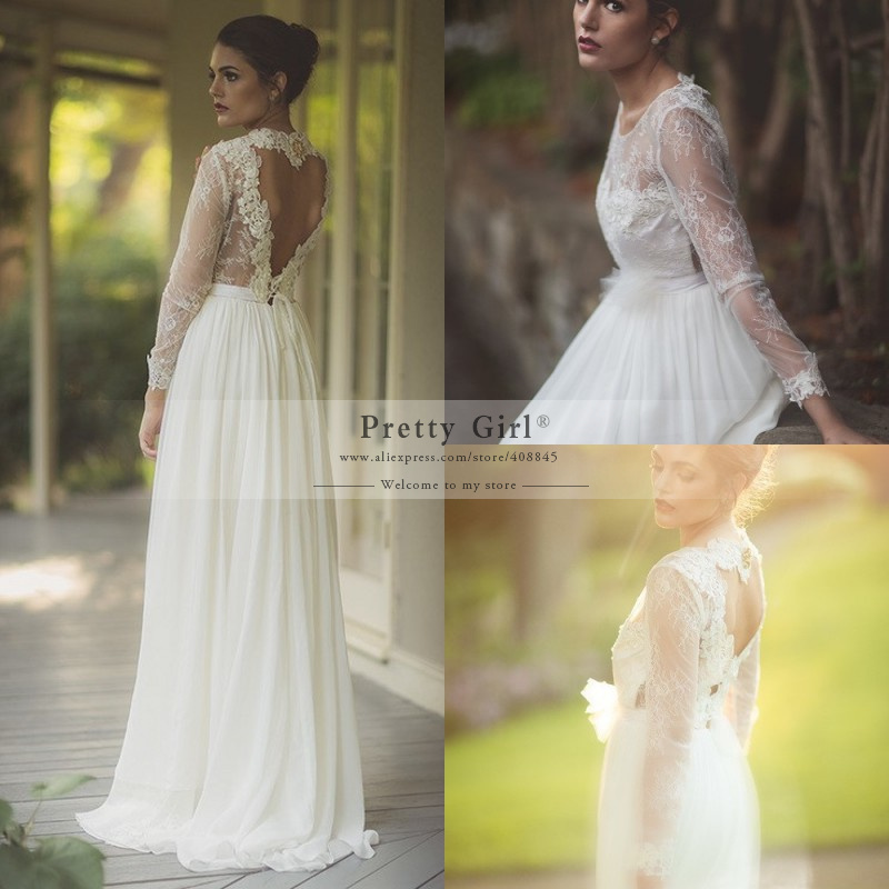 Aliexpress Buy Popular Boho Long Sleeve Wedding Dresses Unique Heart Backless Bridal Dress 2015 Vestido De Noiva Romantic Lace Gowns From
