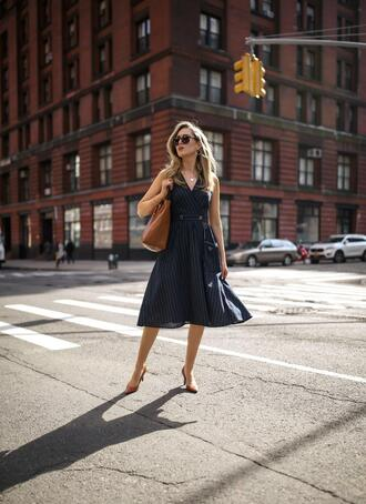 the classy cubicle blogger dress shoes bag sunglasses jewels midi dress pumps spring outfits
