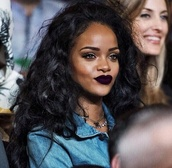 make-up,dark purple lipstick,lipstick,blouse,rihanna,denim shirt,hair accessory,lipstick m.a.c.,lisptick,purple lipstick,mac cosmetics,rihanna style,where's this lipstick ?,lipstick on rihanna,dark lipstick,mac lipstick,red lipstick,lip gloss