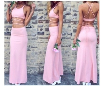 dress pink dress two piece dress set style summer dress
