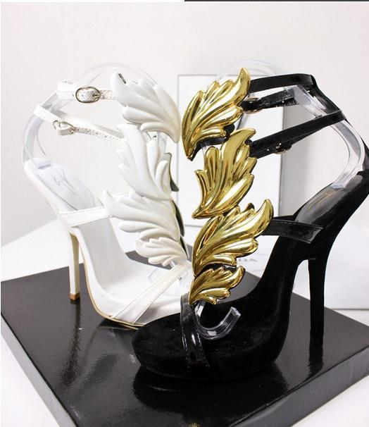 Free shipping 2014 celebrity fashion flame wings gold leaf high heeled sandals women wedge sandals-in Sandals from Shoes on Aliexpress.com