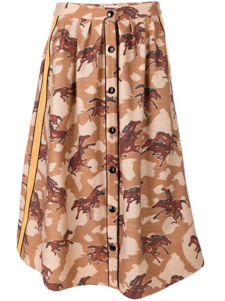 coach skirt buttoned skirt horse women cotton print wool brown