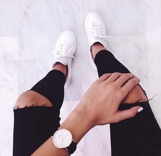 jeans shoes black jeans ripped jeans jewels white shoes pants black