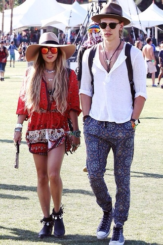 dress vanessa hudgens red romper coachella romper festival boho chic bohemian dress bohemian vanessa hudgens