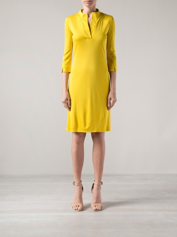 dress maison martin margiela yellow shift dress yellow dress lemongrass