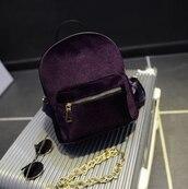 bag,backpack,purple,velvet,suede
