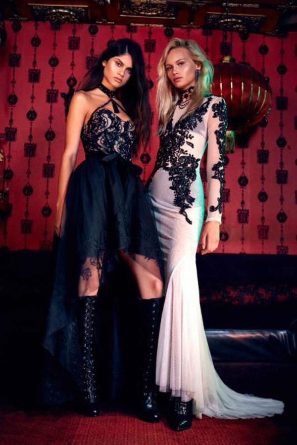 Dress Nastygal Maxi Dress Beaded Hand Beaded Lace Black Ivory