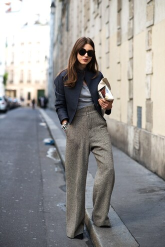 pants black sunglasses tumblr grey pants wide-leg pants top grey top jacket black jacket cropped jeans sunglasses work outfits office outfits