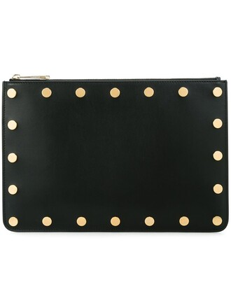 studded zip clutch black bag