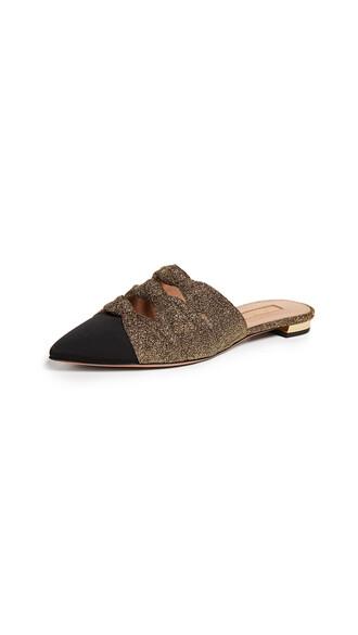 flats gold black shoes
