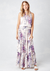 dress,lovestitch,maxi,boho,bohemian,flowers,floral,violet,vanilla,beautiful,smock,keyhole front,shoulder detail,periwinkle