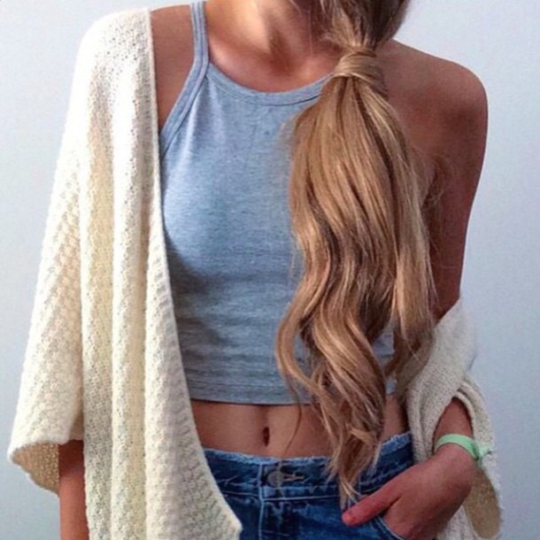 tank top top grey grey top cardigan denim hair hairstyles grey tank top nude knitwear knitted cardigan crop tops crop