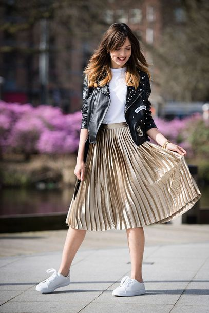 skirt white top black leather jacket gold pleated skirt white sneakers