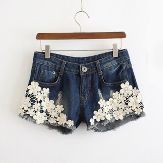 shorts lace denim