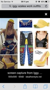 pants,iggy azalea,shoes,hat,jewels,top,louboutin,adidas,multicolor,yellow pumps,high heel pumps,summer outfits,visor,black crop top