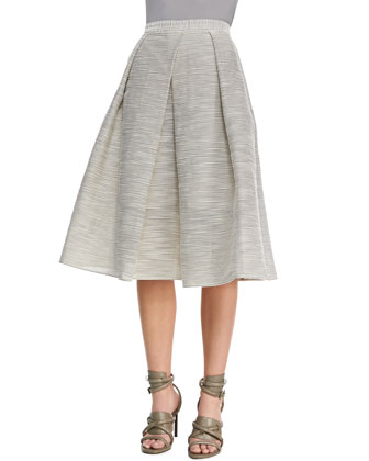 Tibi | Striped Raffia Full Skirt, Natural - CUSP