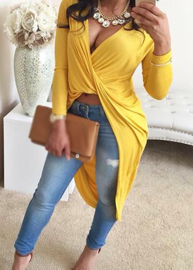 Yellow V Neck High Low T Shirt