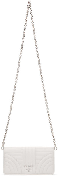 Prada quilted bag chain bag white