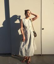 becauseimaddicted,blogger,sunglasses,shoes,bag,dress,hat,jacket,white dress,maxi dress,shoulder bag,lace up flats,brown,striped dress,stripes,green bag,sandals,flat sandals,gladiators