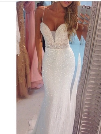 dress white sparkle prom debs ball blonde hair long white dress