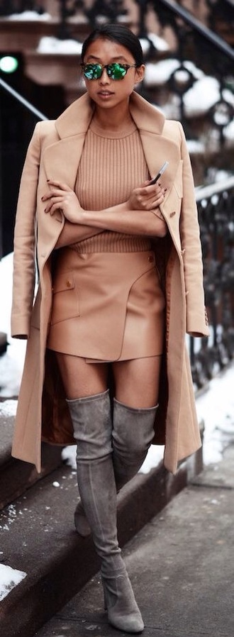 shoes grey overknees wild lether winter outfits boots