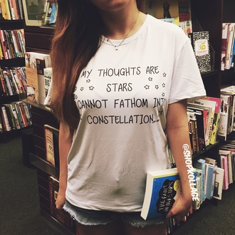 shirt book teenagers top t-shirt quote on it john green tumblr fashion summer outfits